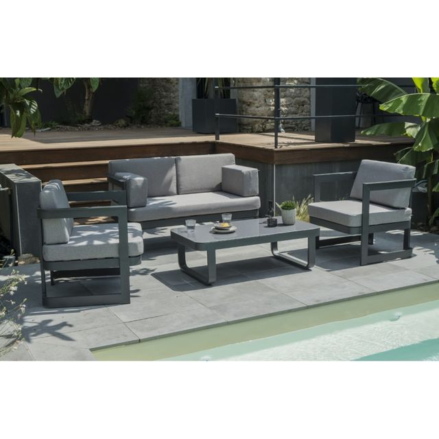 Salon de jardin 4 places en aluminium gris anthracite