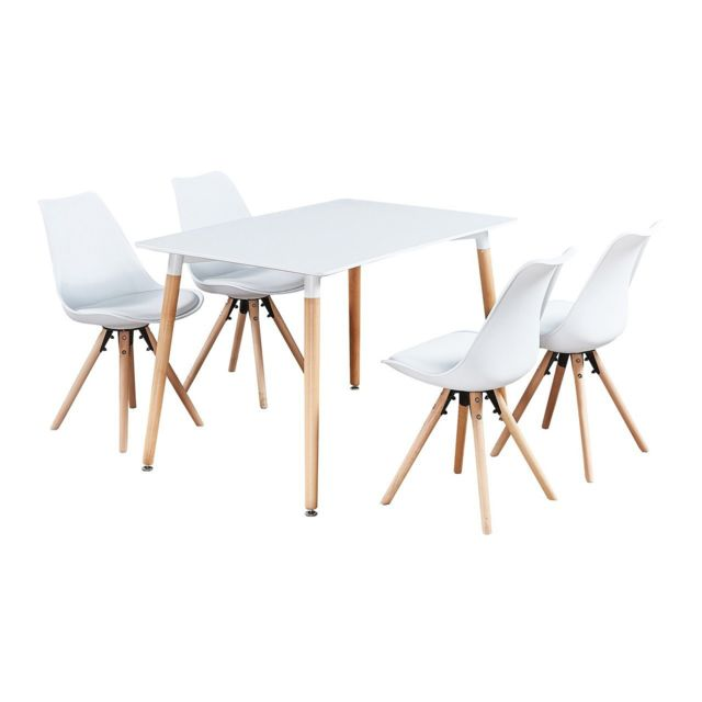 Home Design International Table Blanche 4 Chaises Scandinaves