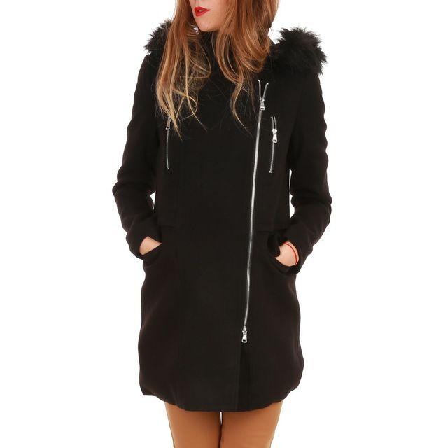 meilleure sélection de chercher vente limitée La Modeuse - Manteau noir col fourrure et zip latéral - pas ...