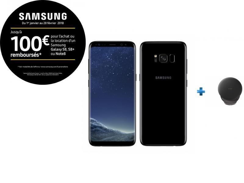 Galaxy S8 - Noir Carbone + Chargeur à induction rapide noir finition cuir