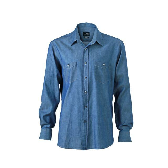 JAMES & NICHOLSON chemise manches longues jean Denim Homme Jn629 - bleu clair