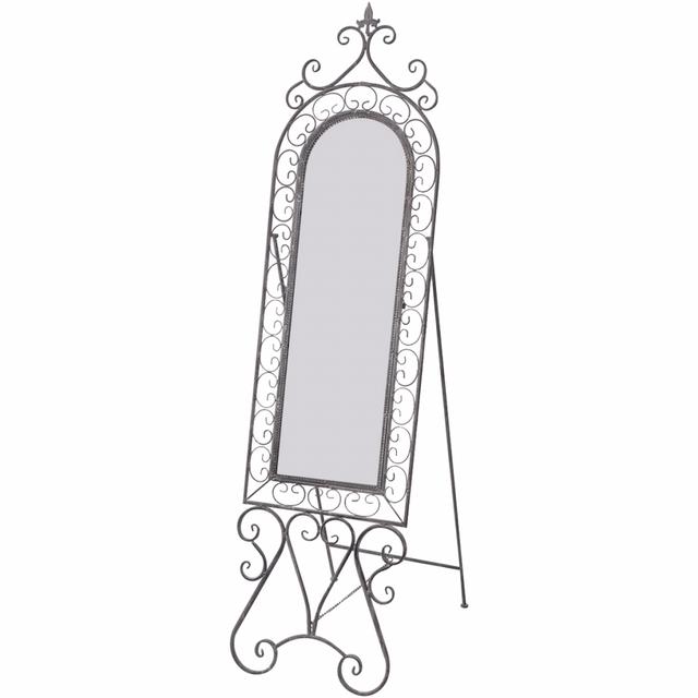 Vidaxl Miroir sur pied en fer Gris