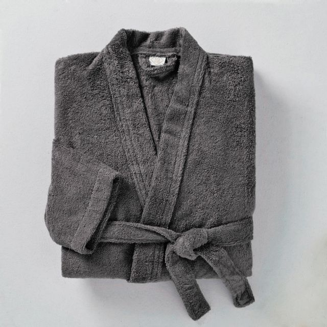 tex home peignoir bath en coton gris fonc pas cher achat vente peignoirs de bain. Black Bedroom Furniture Sets. Home Design Ideas