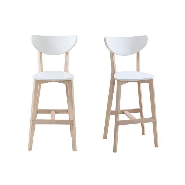 miliboo tabourets de bar scandinaves blanc et bois 65 cm lot de 2 leena pas cher achat. Black Bedroom Furniture Sets. Home Design Ideas