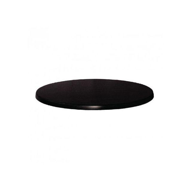 Werzalit-plus Plateau de table rond noir 800 mm Werzalit
