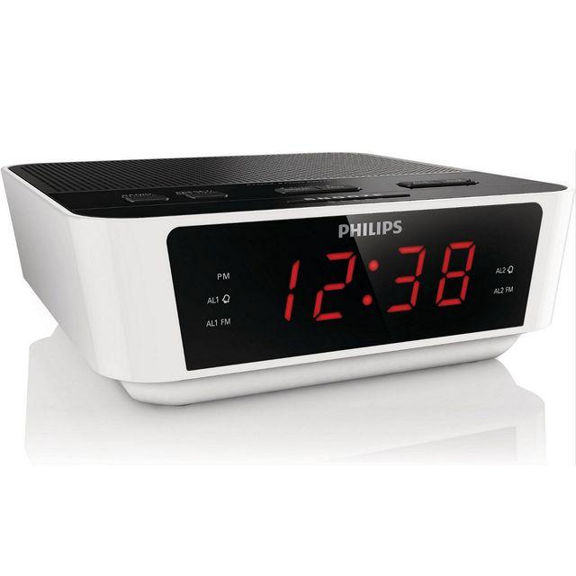 radio réveil double alarme noirblanc aj 311512