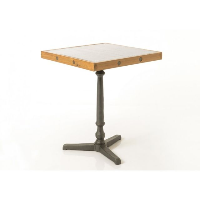 Amadeus Table Haute Bistrot métal/Teck/Galva