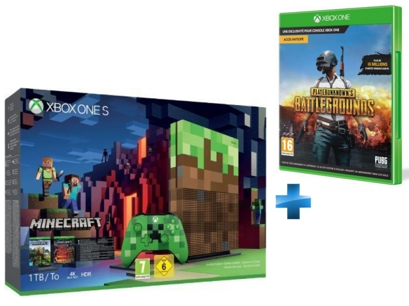 Pack Xbox One S 1To Minecraft Edition Limitée + PUBG - PlayerUnknown's Battlegrounds Game Preview Edition