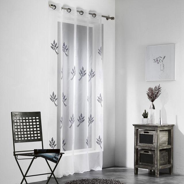 les douces nuits de ma voilage pr t poser 140x240 cm nino blanc gris pas cher achat. Black Bedroom Furniture Sets. Home Design Ideas