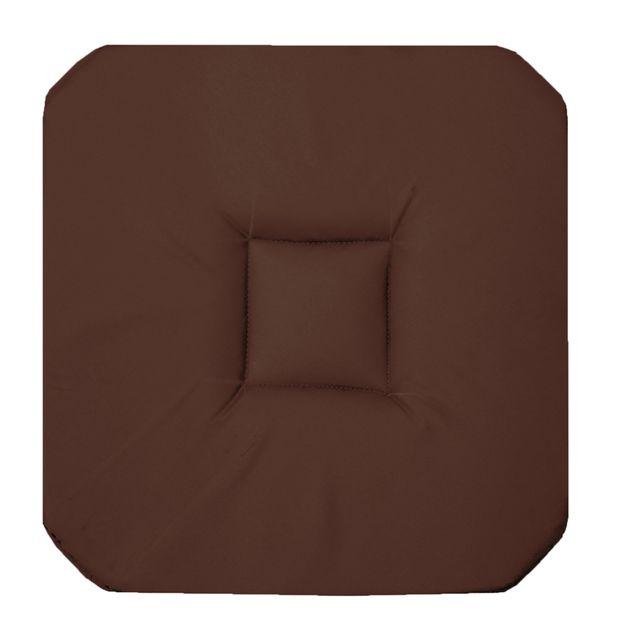 Coton D'INTERIEUR Cdaffaires Galette 4 rabats 36 x 36 x 3.5 cm coton uni panama Choco