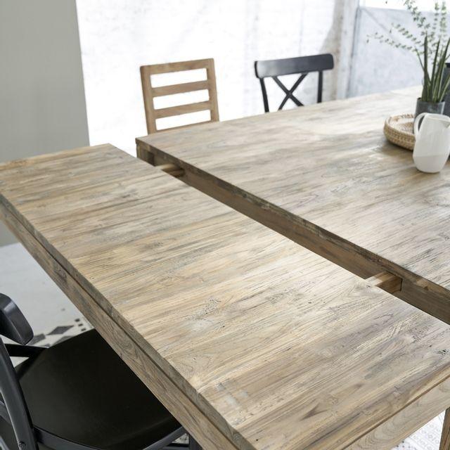 Table carrée bois massif de teck recyclé 120cm, allonges