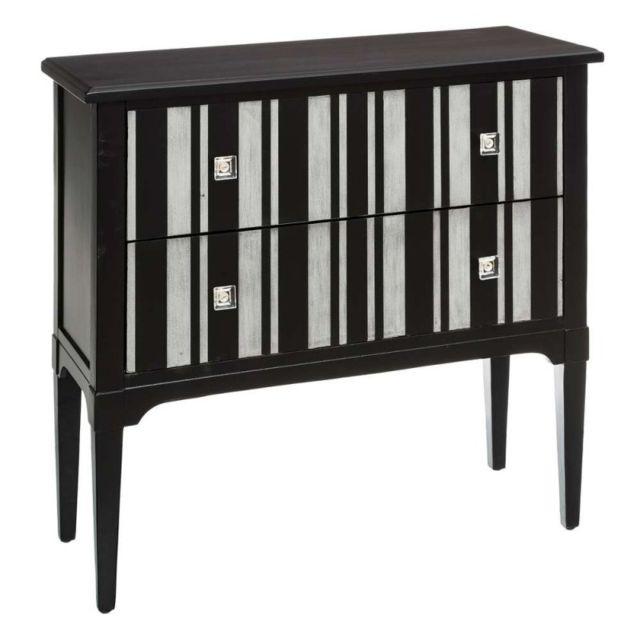 Ma Maison Mes Tendances Commode 2 tiroirs en bois noir et argent Cassandre - L 88 x l 35 x H 80