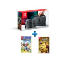 Console Switch avec une paire de Joy-Con Gris + Rayman Legends: Definitive Edition - Switch + Mario + The Lapins Crétins Kingdom Battle - Switch