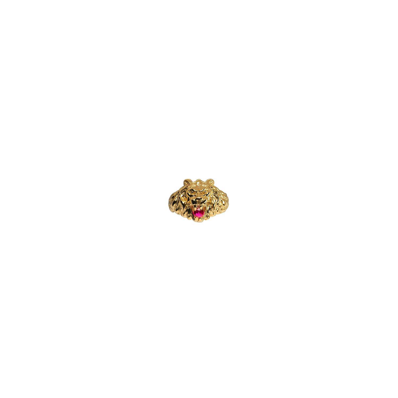 1001BIJOUX- Chevalière lion gros modèle pierre rouge vermeil - Plaqué or 11d733e8caf3