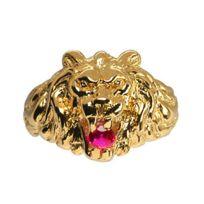 1001BIJOUX - Chevalière lion gros modèle pierre rouge vermeil