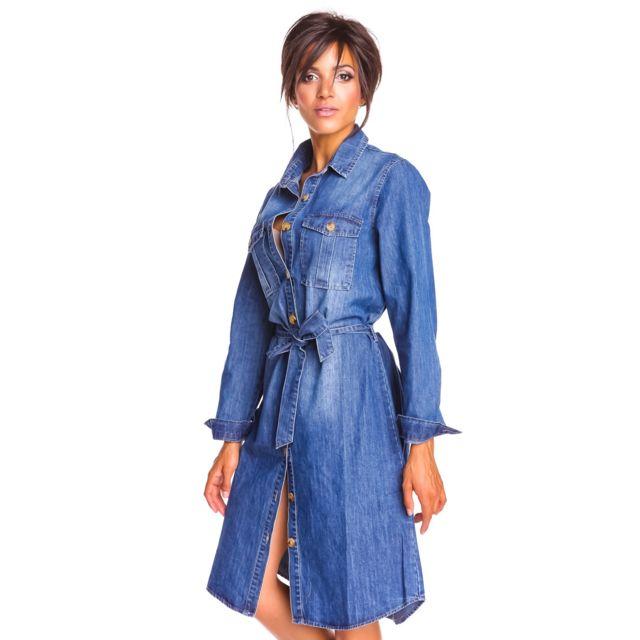 Doucel Robe chemise longue en jean boutonnée de haut en bas Taille Femme - 42, Couleur - bleu jean