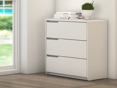 Vente-unique Commode Lucile - 3 tiroirs - Mdf blanc