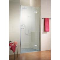 SCHULTE - Porte de douche pivotante, 120 x 200 cm, paroi de douche pivotante, verre transparent anticalcaire, profilé chromé, ouverture à droite, Masterclass