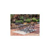 Finlandek - Salon de jardin en resine tressee - Table Rectangulaire pliable  110 cm + 4 chaises pliantes - Gris