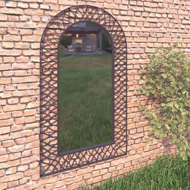 Vidaxl Miroir mural de jardin 60 x 110 cm Noir