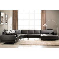 Linea Sofa - Canapé panoramique 7 places cuir supérieur Donatello Ii - Chocolat - Angle droit