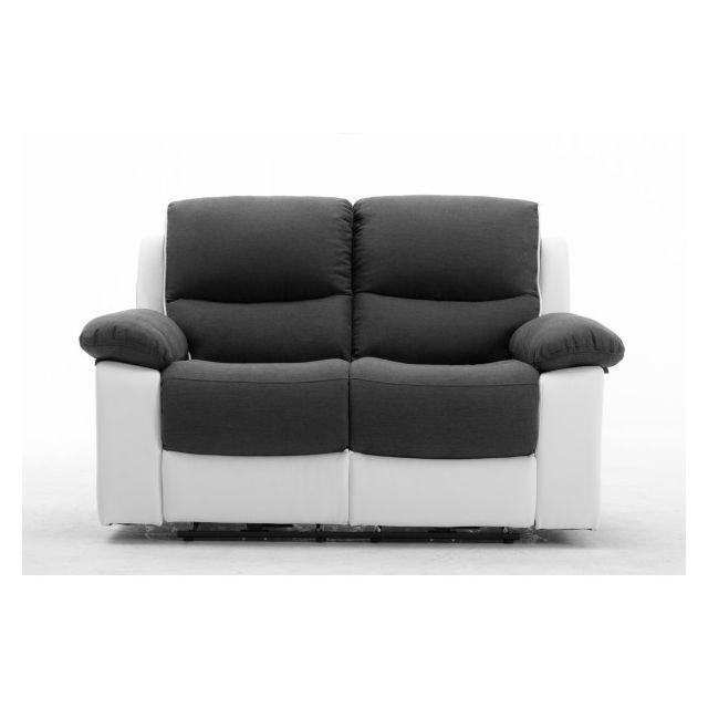Moloo Keaton-canapé 2 places tissu gris et pu blanc 2 Relax électrique