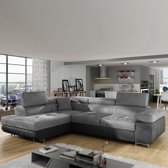 Sofamobili Canapé d'angle convertible tissu gris à gauche Scott