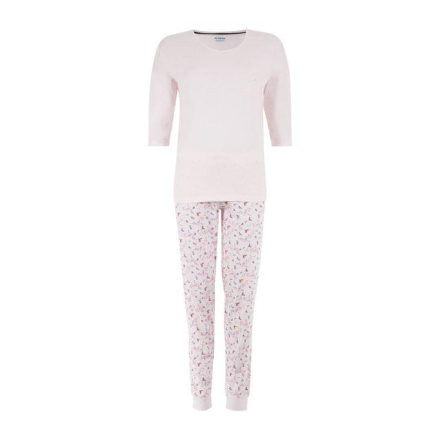 Athena - Pyjama long femme Secret de Beauté Rose clair