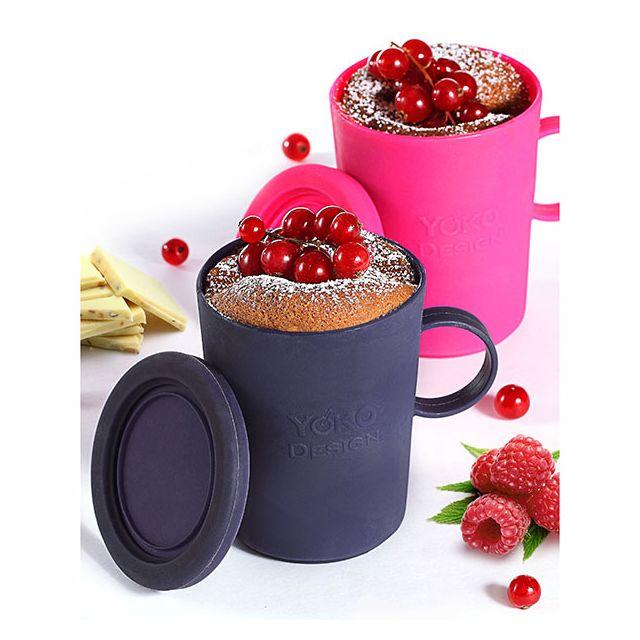 YOKO DESIGN Mug cake en silicone - Lot de 2 - Fuschia et Violet