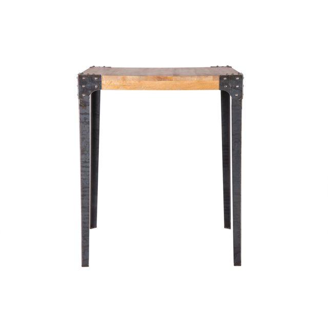 Miliboo Table haute industrielle carrée en manguier massif et métal Madison