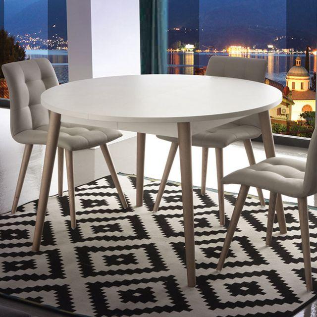 Nouvomeuble Table scandinave extensible blanche et bois clair Cirilo