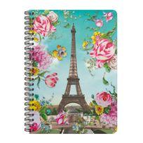 Les Cakes De Bertrand - Cahier à Spirales A5 - 180 pages - Tour Eiffel Fleurs