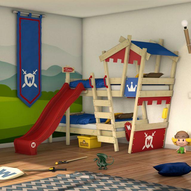 WICKEY Lit mezzanine en bois CrAzY Castle avec toboggan rouge Lit superposé pour enfant couleur rouge - bleu