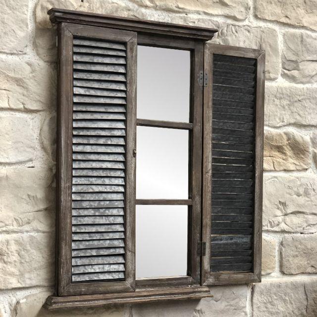 Loriginale Deco Miroir Fenêtre à Volet Persienne Bois Zinc Mural