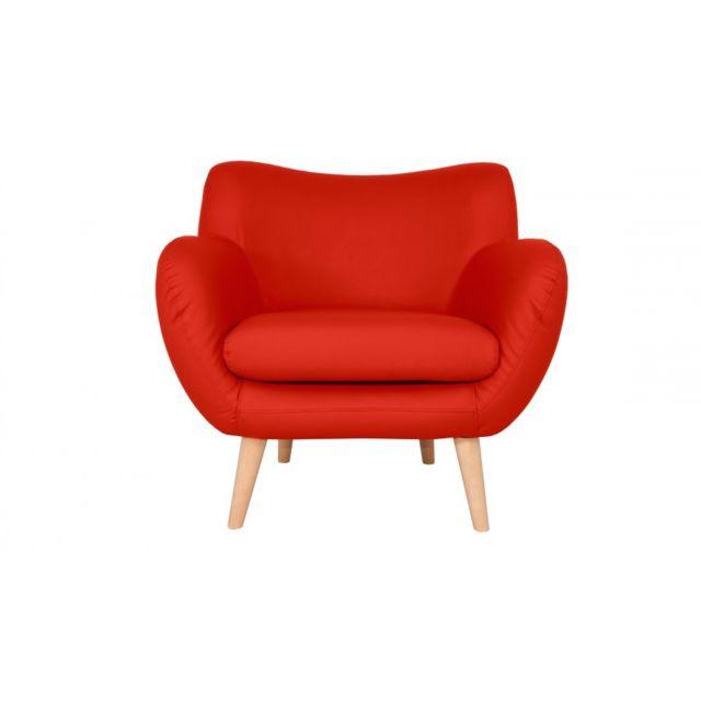 Rocambolesk Canapé Adele 1 Pu soft 10 rouge avec pieds naturels sofa divan