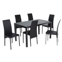 Ensemble table avec plateau de verre et 6 chaises - Noir - TH1080-6