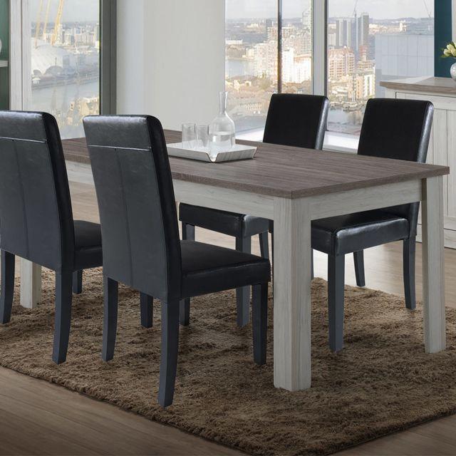 Sofamobili Table 190 cm couleur chêne clair et marron Pivoine
