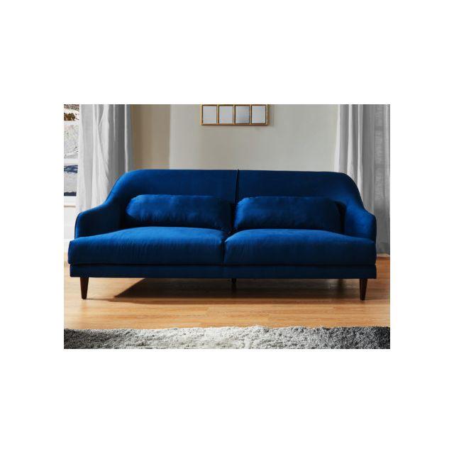 Canapé 3 places en velours YOURI - Bleu nuit