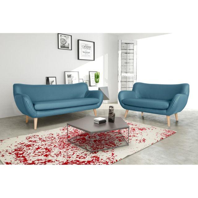 Rocambolesk Canapé Adele 3+2 soft 08 Pu bleu avec pieds naturels sofa divan