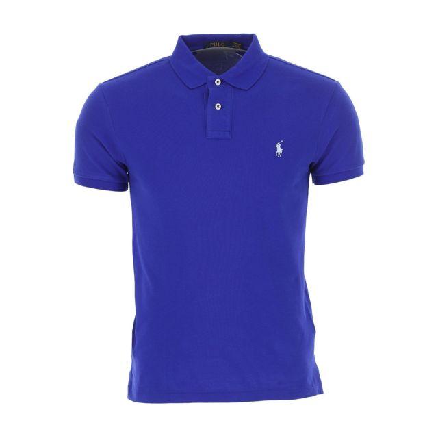 RALPH LAUREN Homme 710536856085 Bleu Coton Polo