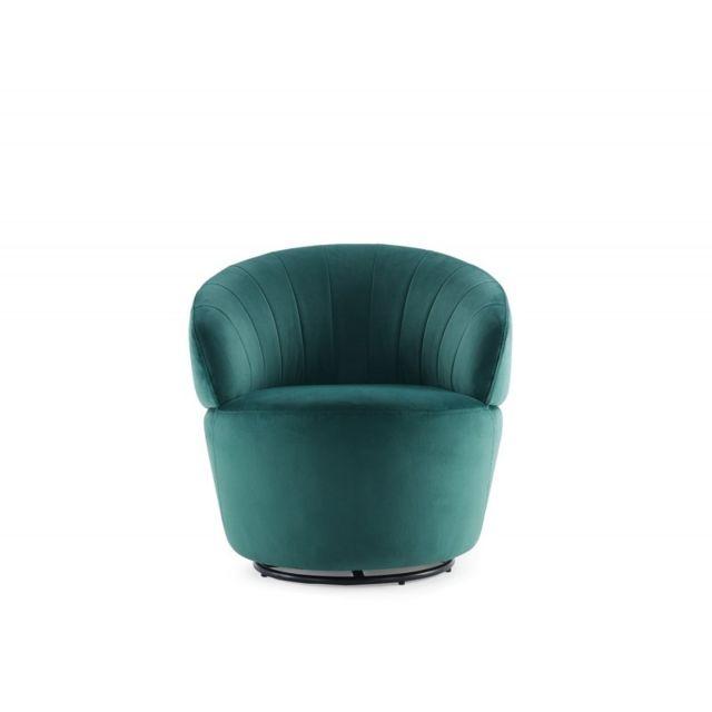 Meubletmoi Fauteuil en tissu velours vert pivotant - Corolla