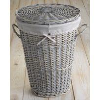 Compactor Home - Panier à linge osier cérusé gris avec housse amovible coordonnée 43x57cm Vintage