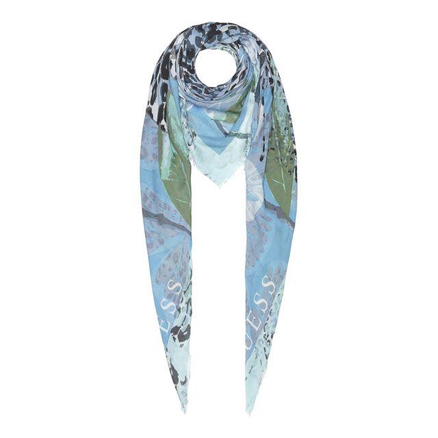 19a597e5e9d0 Guess - Foulard Femme Imprimé Fantaisie Bleu - pas cher Achat   Vente  Etoles, châles - RueDuCommerce