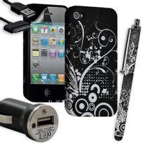 Karylax - Housse Étui Coque en Gel + Chargeur Voiture Auto + Stylet pour Apple Iphone 4 / 4S avec motif Hf18