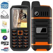 Yonis - Téléphone antichoc double Sim waterproof portable chantier orange d852d853f9a