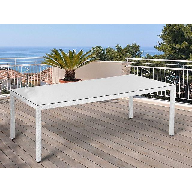 Beliani Table blanche pour extérieur en polyrotin et avec plateau en verre - Italy