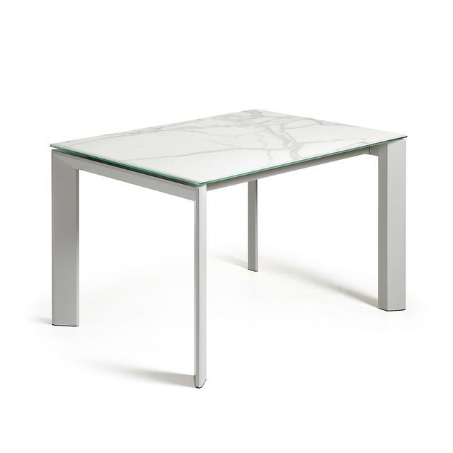 Kavehome Table extensible Axis, gris et kalos blanc 120 160, x80 cm