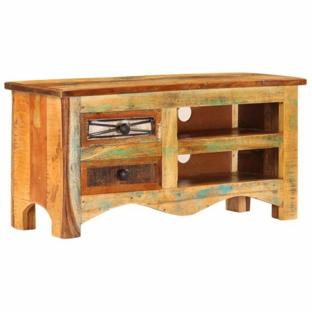 Helloshop26 Meuble télé buffet tv télévision design pratique 80 cm bois de récupération massif 2502084