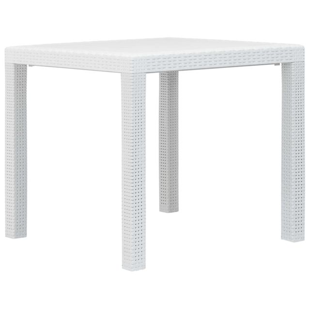 VIDAXL Table de jardin Blanc 79x79x72 cm Plastique Aspect de rotin