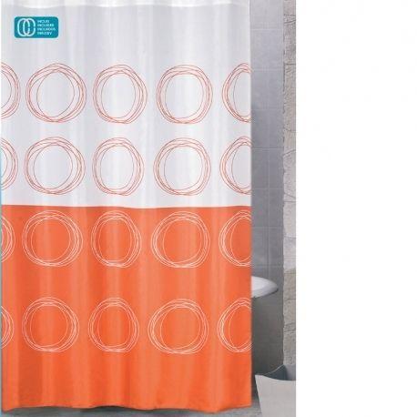 Rideau De Douche Polyester 180x200 Ronds Oranges